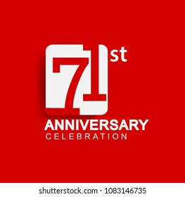71 years anniversary logo with white square isolated on red background simple and modern design for anniversary celebration.
