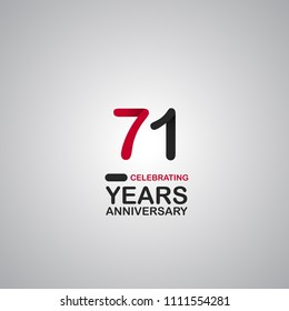 71 years anniversary simple colored number for company celebration isolated on grey background