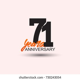 71 years anniversary simple design with negative style and yellow color isolated in white background