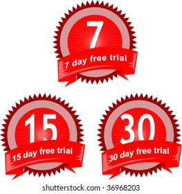 7,15 and 30 day free trial seal signs and symbol isolated on white
