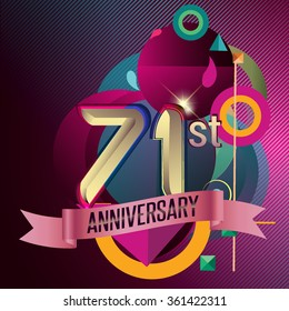 71st Anniversary, Party poster, banner and invitation - background geometric glowing element. Vector Illustration