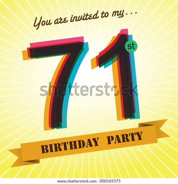 71st Birthday Party Invite Template Design Stock Vector Royalty