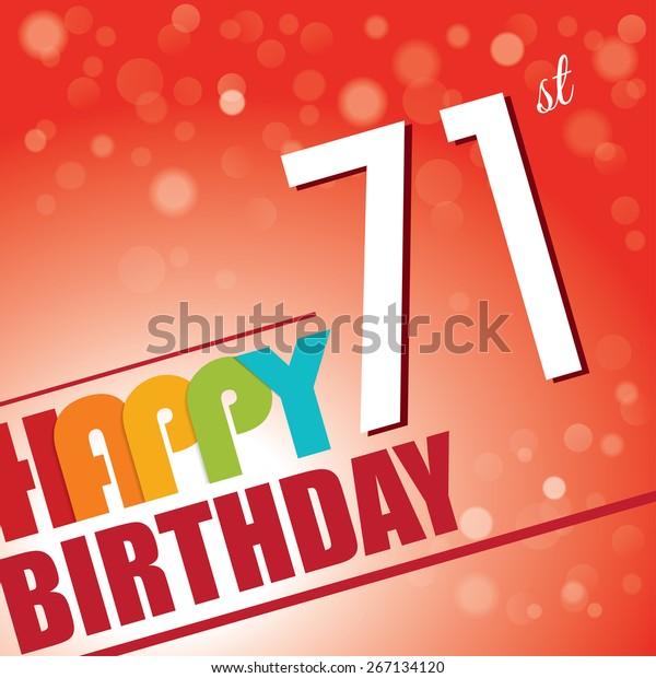 71st Birthday Party Invitetemplate Design Bright Stock Vector