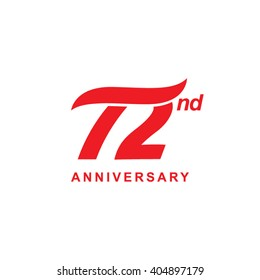 72 anniversary wave logo red