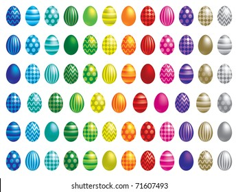 72 Easter eggs in vector format.