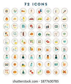 72 icons for kids. Childish vector illustration for toddler schedule