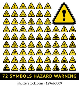72 symbols triangular warning hazard. Big yellow set