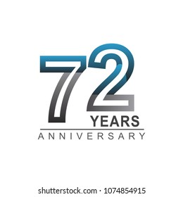 72 years anniversary logotype bold line number with grey and blue color for celebration event isolated on blue background