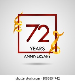 72 years anniversary with red number design inside red square and golden ribbon element, isolated on white background can be used as celebration card