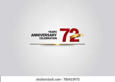 72 Years anniversary using red elegant number isolated on white background, with golden ribbon ca be use as celebration event logo