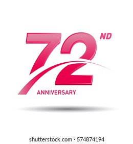72 years pink anniversary. wedding, love, valentine logo celebration