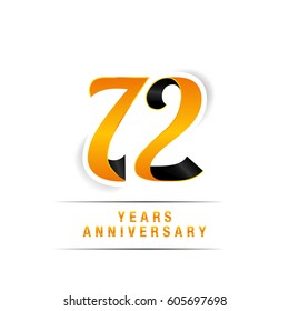 72 Years Yellow and Black  Anniversary  Logo Celebration Isolated on White Background