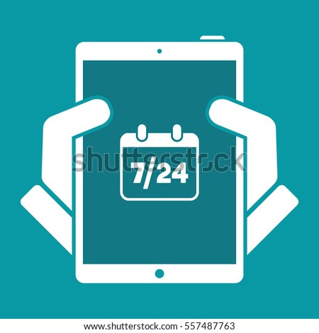 724 Availability Calendar Vector Web Icon Stock Vector