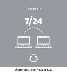7/24 transfer data services - Vector web icon