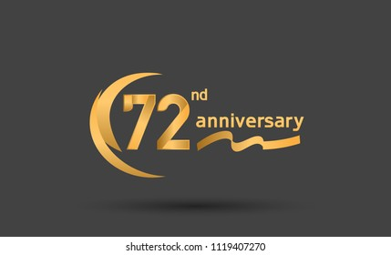 72nd anniversary with swoosh golden color and ribbon for celebration event