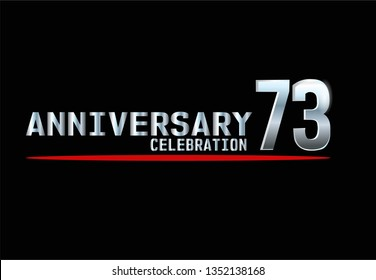 73 years Anniversary with silver font and under red line. Silver font with black background and red underline. Elegant and simple design. My all design can see in my portofolio