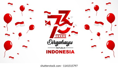 73th August 2018 Logo Special happy independence Indonesia day red and white bacground vector illustration with ballon