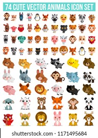 74 Cute Vector Animals icon set  isolated on a white background