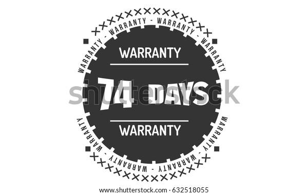 74 days warranty label icon vector vintage