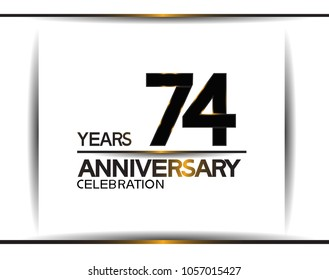 74 years anniversary black color simple design isolated on white background for celebration