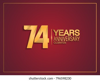 74 years anniversary celebration design with golden color isolated on red background for celebration event