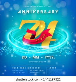 74 years anniversary logo template on blue Abstract futuristic space background. 74th modern technology design celebrating numbers with Hi-tech network digital technology concept design elements.