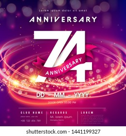 74 years anniversary logo template on purple Abstract futuristic space background. 74th modern technology design celebrating numbers with Hi-tech network digital technology concept design elements.