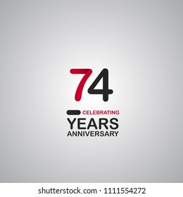 74 years anniversary simple colored number for company celebration isolated on grey background