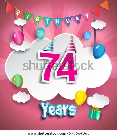 74 years birthday design greeting cards stock vector royalty free 74 years birthday design for greeting cards and poster with clouds and gift box m4hsunfo