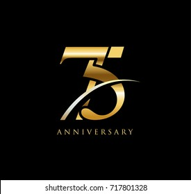 75 anniversary elegance gold logo. linked number with swoosh