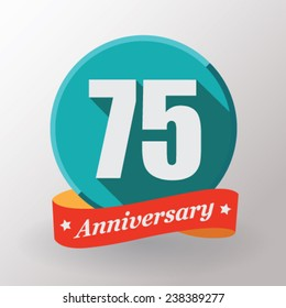 75 Anniversary   label with ribbon. Flat design.