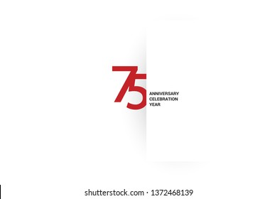 75 anniversary, minimalist logo, jubilee, greeting card. Birthday invitation. Red space vector illustration on white background - Vector