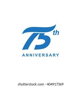 75 anniversary wave logo blue