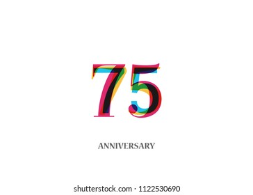 75 Colorful anniversary logotype design isolated on white background