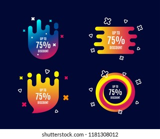 Up to 75% Discount. Sale offer price sign. Special offer symbol. Save 75 percentages. Sale banners. Gradient colors shape. Abstract design concept. Vector