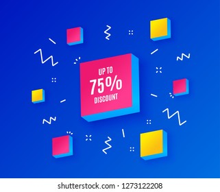 Up to 75% Discount. Sale offer price sign. Special offer symbol. Save 75 percentages. Isometric cubes with geometric shapes. Creative shopping banners. Template for design. Vector