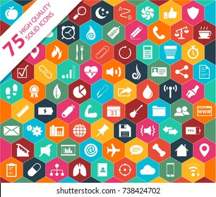 75 High Quality Solid Icons From Categories Including: Food, Health Care, Fitness, Business, Finance, Technology, And Communication