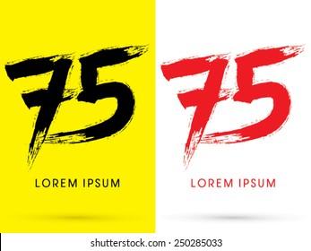 75 ,Number,Chinese brush grunge font ,designed using black and red brush handwriting, logo, symbol, icon, graphic, vector.