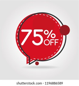 75% OFF Discount Sticker. Sale Red Tag Isolated Vector Illustration. Discount Offer Price Label, Vector Price Discount Symbol.