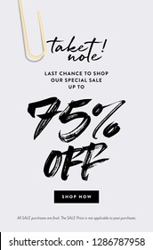 75% Off Discount Vector Banner Concept. Fashion and Modern Vector Email Template. Special Promotion Deals up to 75% OFF Sale Discount Coupon or Invitation Card. Call to Action Button - Shop Now.