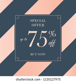 Up to 75% off Sale. Discount offer price sign. Special offer symbol. Save 75 percentages. Striped background