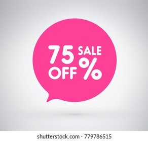 75% offer label sticker, sale discount price tag. Vector illustration tag, label design with stylish pink color for your trendy design discount campaign promotion in several occasional season sale.