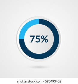 75 percent blue grey and white pie chart. Percentage vector infographics. Circle diagram business illustration