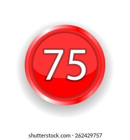 75 red circular button