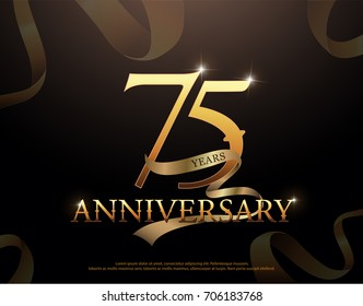 75 year anniversary celebration logotype template. 75th logo with ribbons on black background