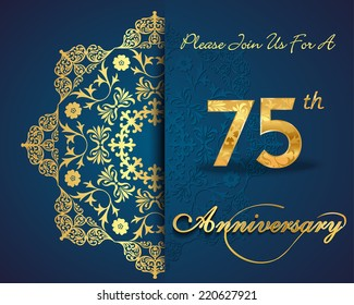 75 year anniversary celebration pattern design, 75th anniversary decorative Floral elements, ornate background, invitation card - vector eps10