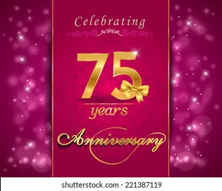 75 year anniversary celebration sparkling card, 75th anniversary vibrant background - vector eps1