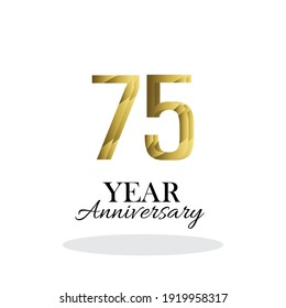 75 Year Anniversary Logo Vector Template Design Illustration gold and white