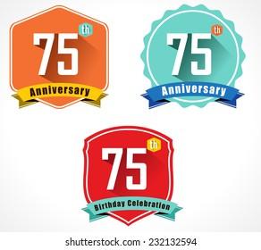 75 year birthday celebration flat color vintage label badge, 75th anniversary decorative emblem - vector illustration eps10