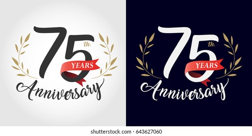 75 years, 75th anniversary, number, hand writing, and red ribbon. vintage style